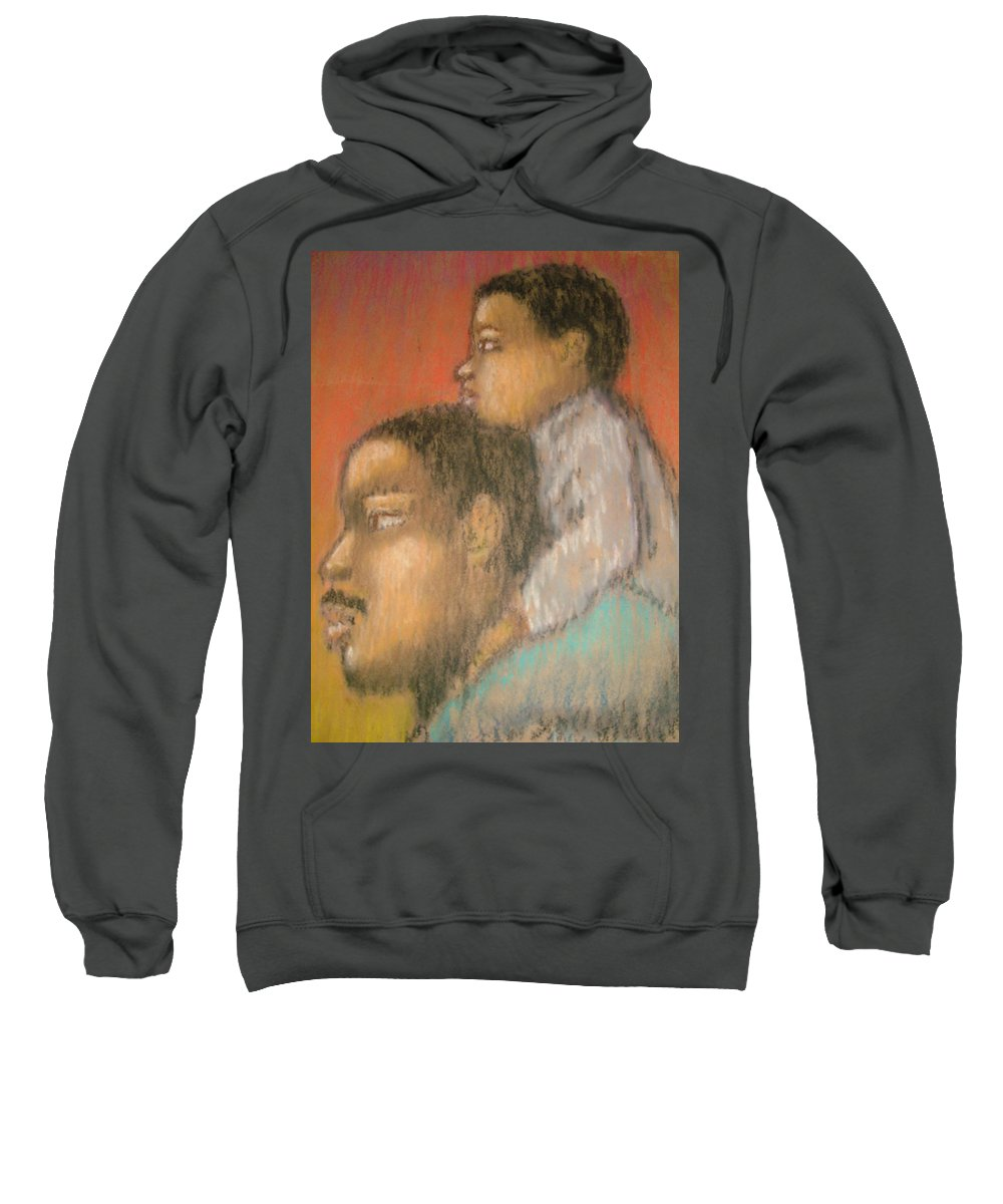 Sweatshirt featuring the drawing Father And Son by Jan Gilmore