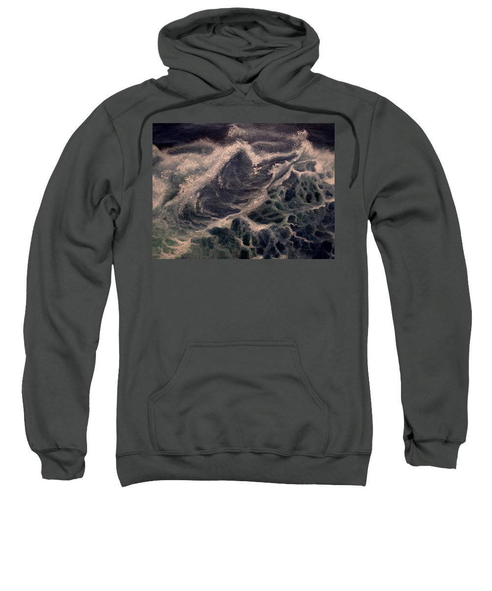 Waves Sweatshirt featuring the painting Fear by Glory Fraulein Wolfe