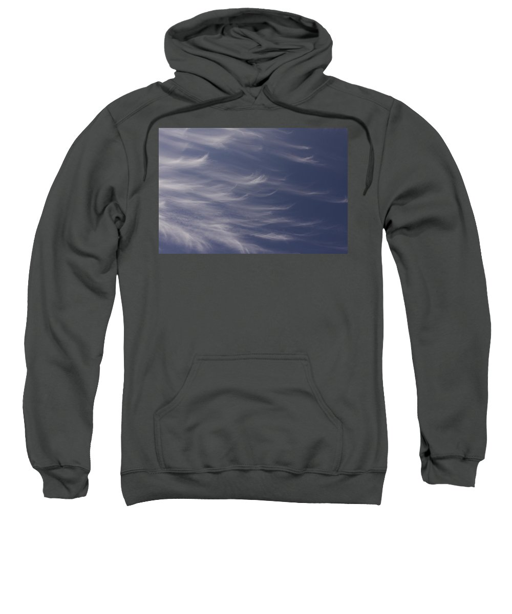 Sky Blue Clouds White Feather Photography Photograph Sweatshirt featuring the photograph Feathery Sky by Shari Jardina