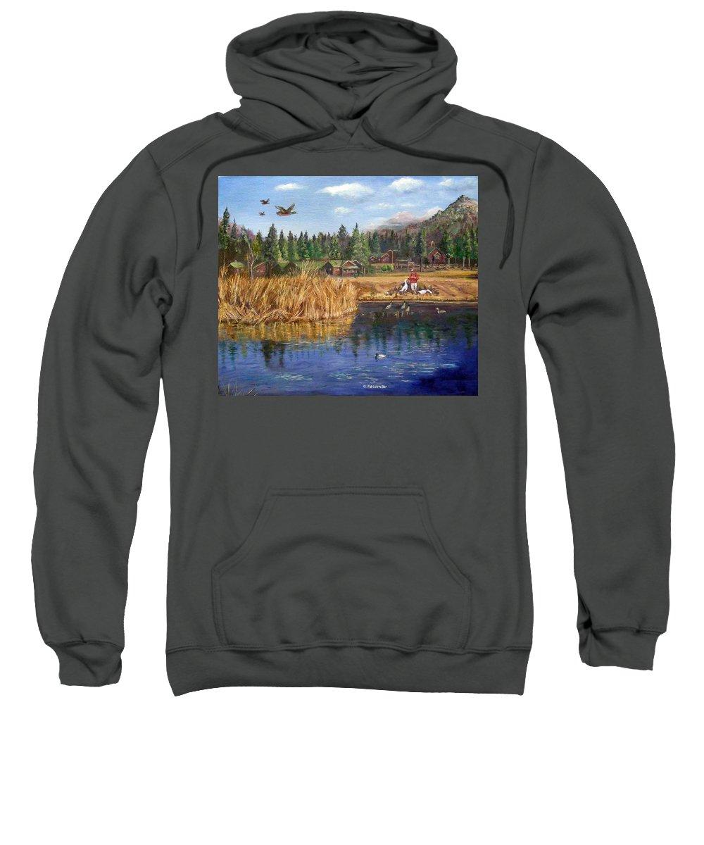 Landscape Sweatshirt featuring the painting Feeding The Ducks by Olga Kaczmar