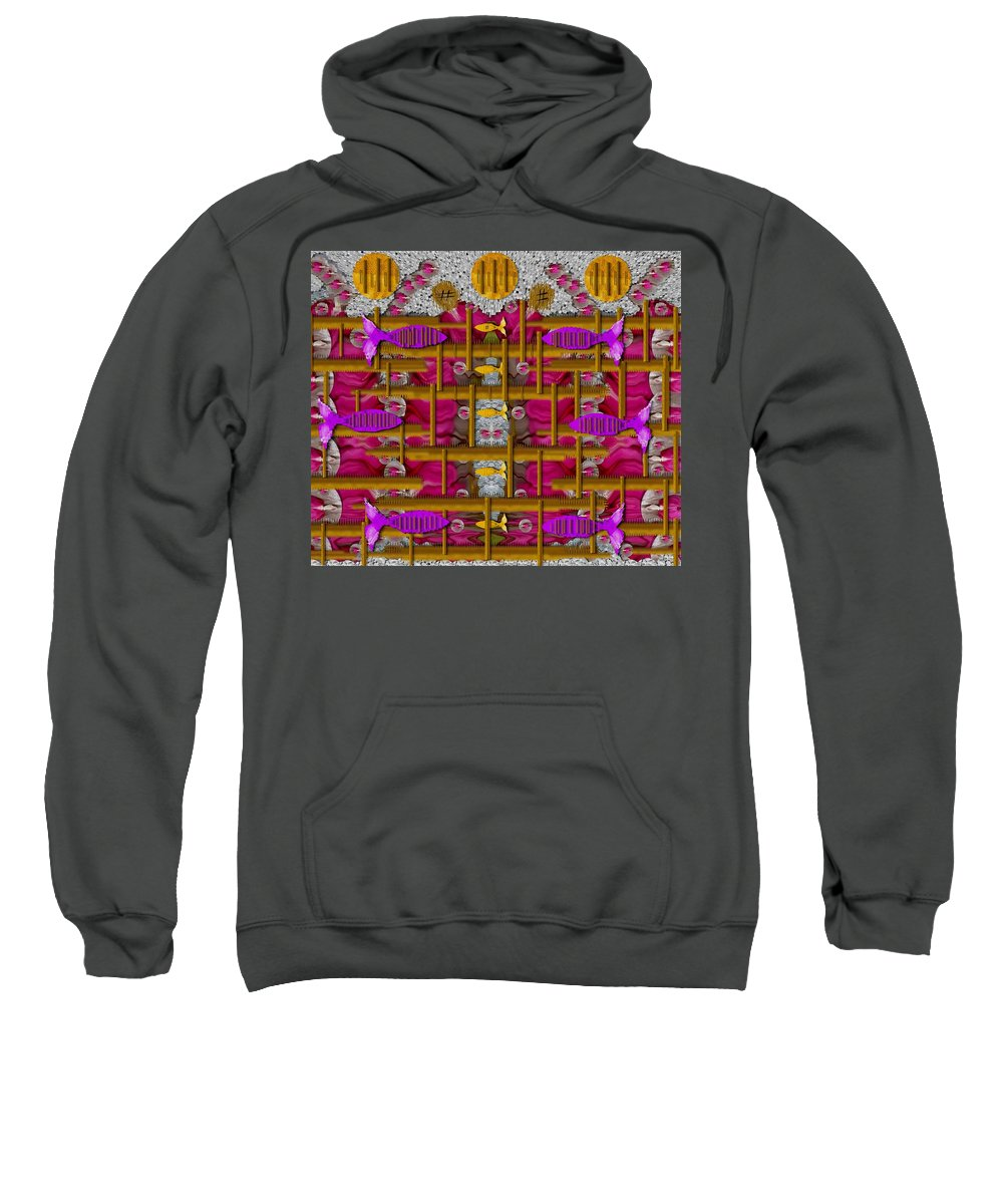 Sun Sweatshirt featuring the mixed media Fences Around Love In Oriental Style by Pepita Selles