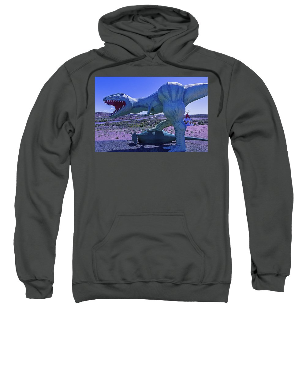 Troadside Dinosaur Sweatshirt featuring the photograph Ferious Dinosaur Trex by Garry Gay