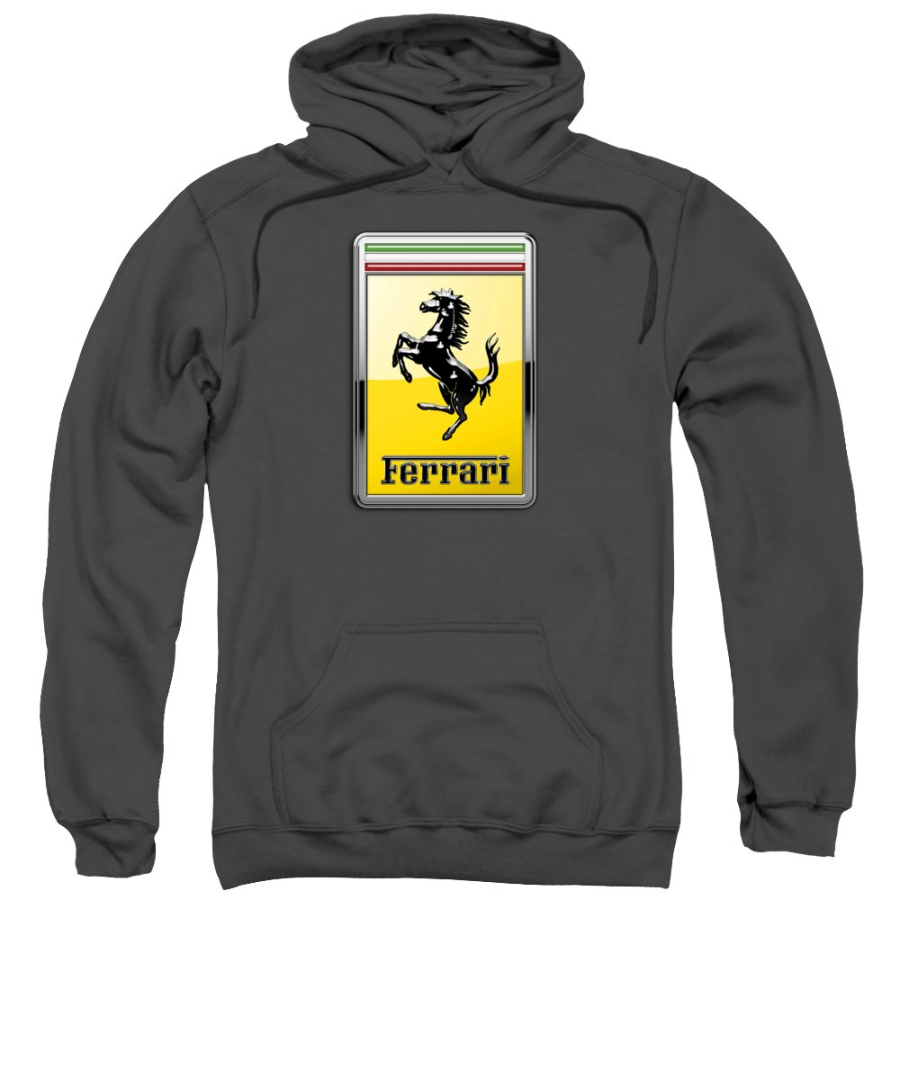 �auto Badges� Collection By Serge Averbukh Sweatshirt featuring the photograph Ferrari 3d Badge-hood Ornament On Red by Serge Averbukh