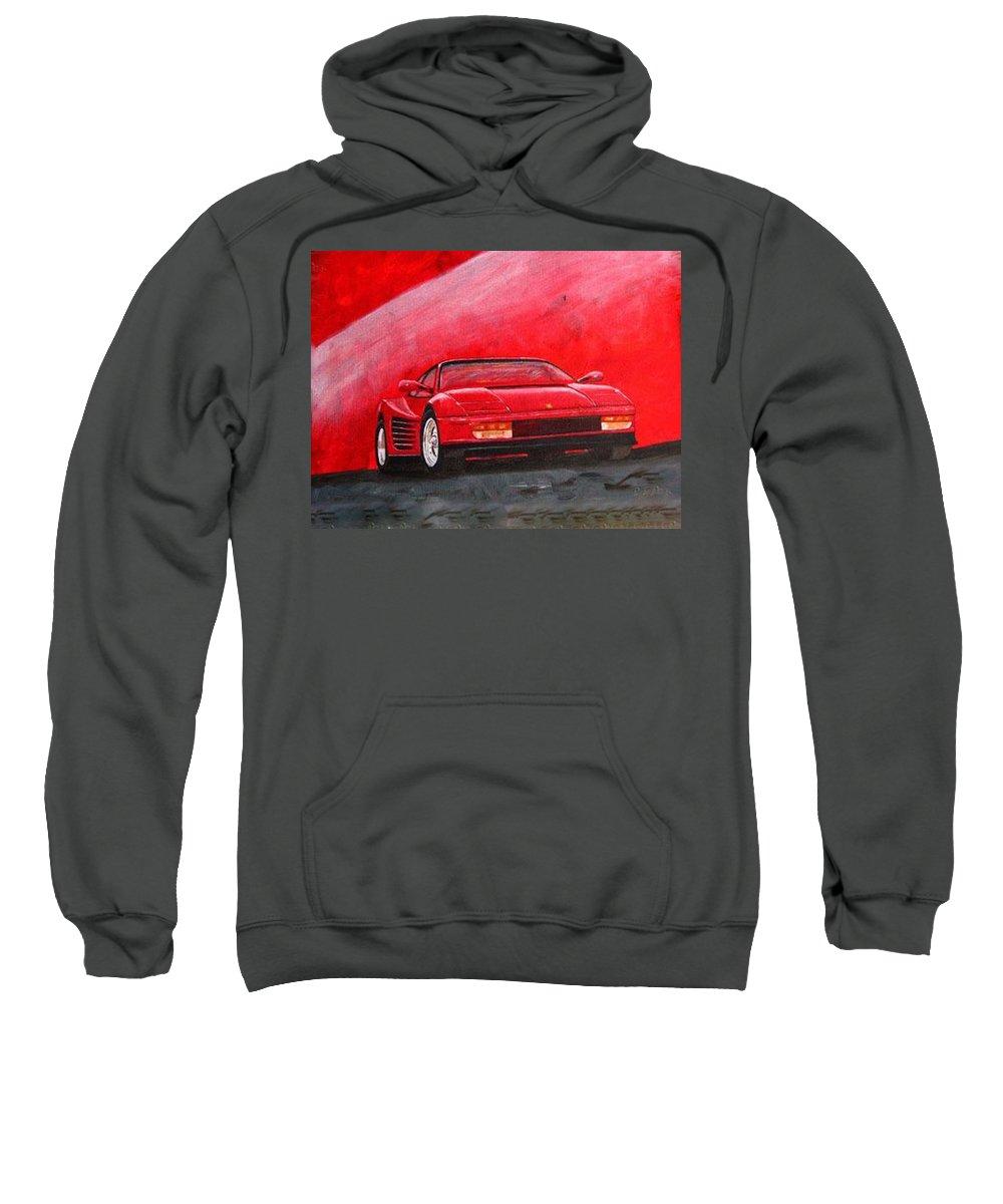 Ferrari Sweatshirt featuring the painting Ferrari Testarrossa by Richard Le Page
