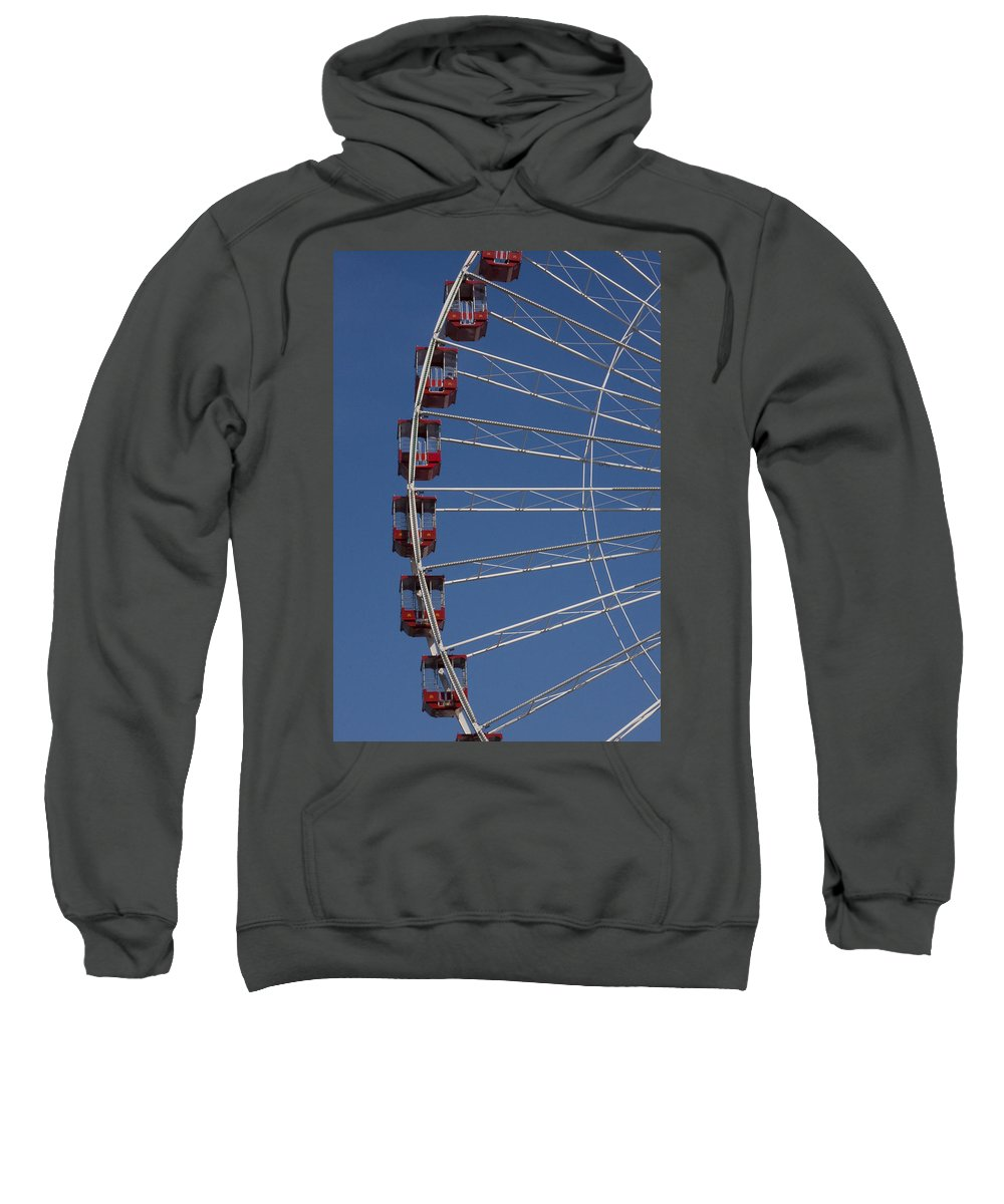 Chicago Windy City Ferris Wheel Tourist Tourism Travel Attraction Sweatshirt featuring the photograph Ferris Wheel by Andrei Shliakhau