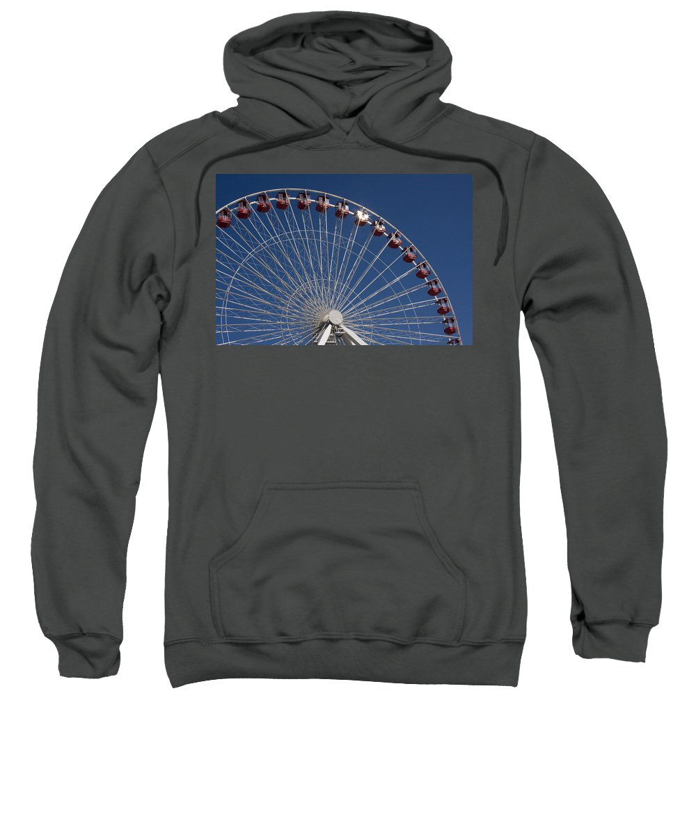 Chicago Ferris Wheel Navy Pier Windy City Attraction Tourist Tourism Travel Blue Sky Sweatshirt featuring the photograph Ferris Wheel IIi by Andrei Shliakhau
