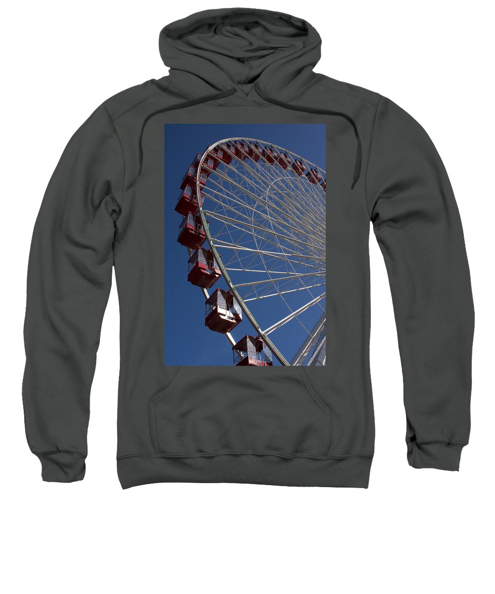 Chicago Windy City Ferris Wheel Navy Pier Attraction Tourism Round Tourist Travel Blue Sky Park Sweatshirt featuring the photograph Ferris Wheel Iv by Andrei Shliakhau
