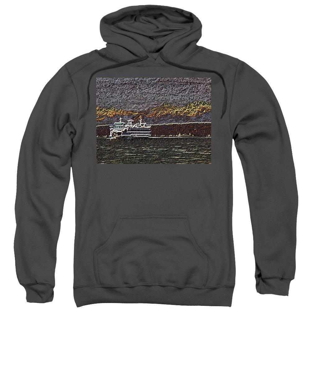 Ferry Sweatshirt featuring the digital art Ferry On Elliott Bay 3 by Tim Allen