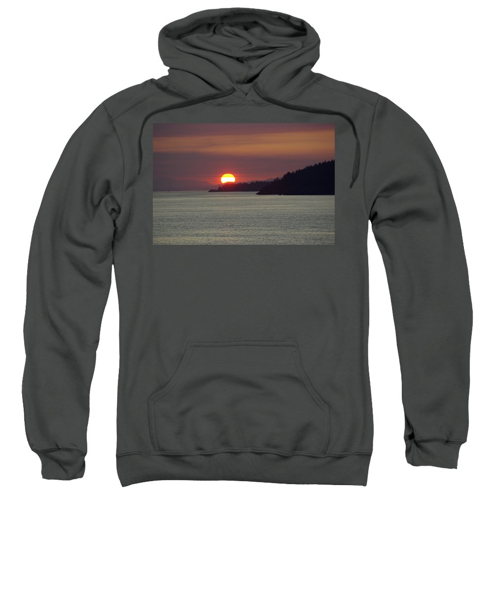Sunset Sweatshirt featuring the photograph Ferry Sunset by Cindy Johnston
