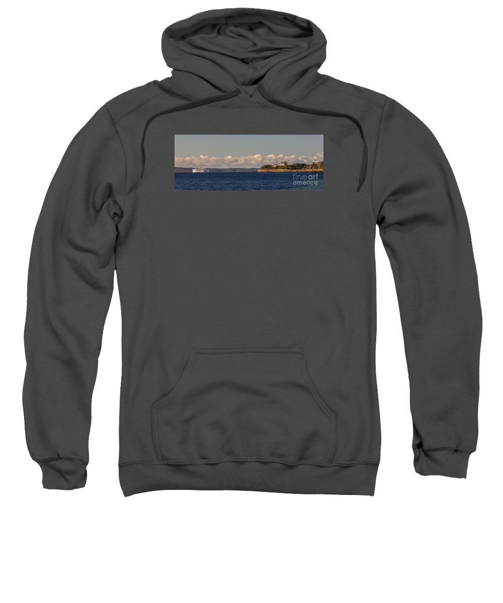 Nobska Sweatshirt featuring the photograph Ferry To Martha's Vineyard Passes Nobska Light by Jim Hayes