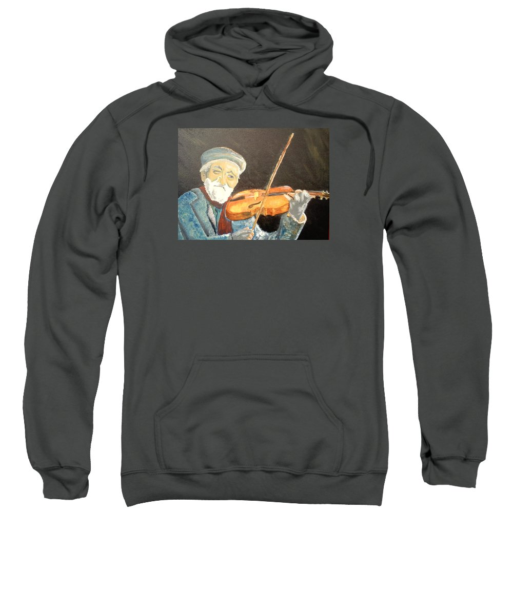 Hungry He Plays For His Supper Sweatshirt featuring the painting Fiddler Blue by J Bauer