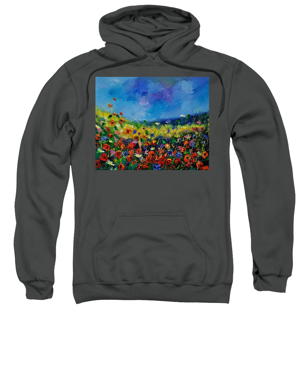 Landscape Sweatshirt featuring the painting Field Flowers 561190 by Pol Ledent