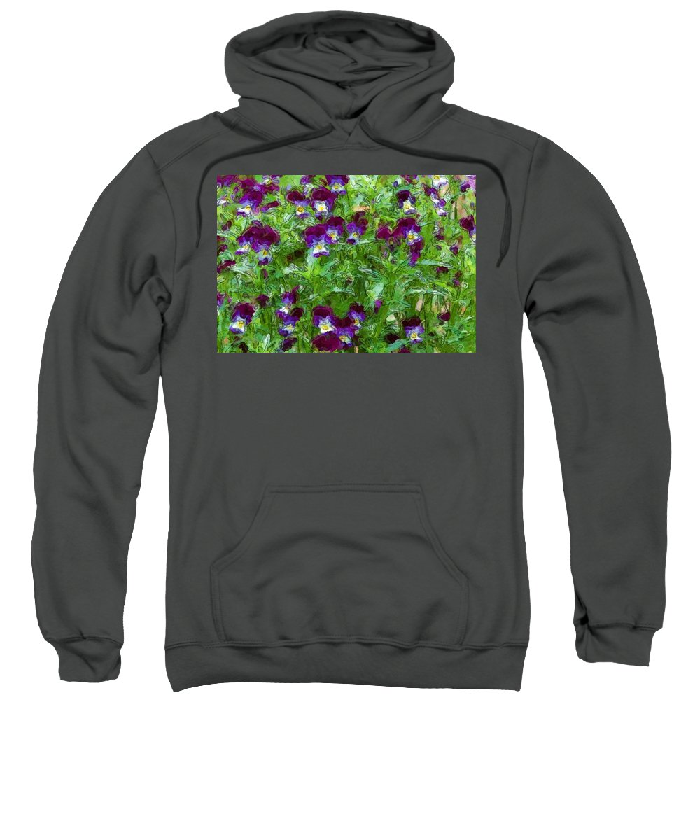 Digital Photograph Sweatshirt featuring the photograph Field Of Pansy's by David Lane