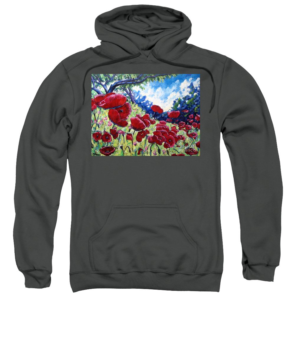 Poppies Sweatshirt featuring the painting Field Of Poppies 02 by Richard T Pranke
