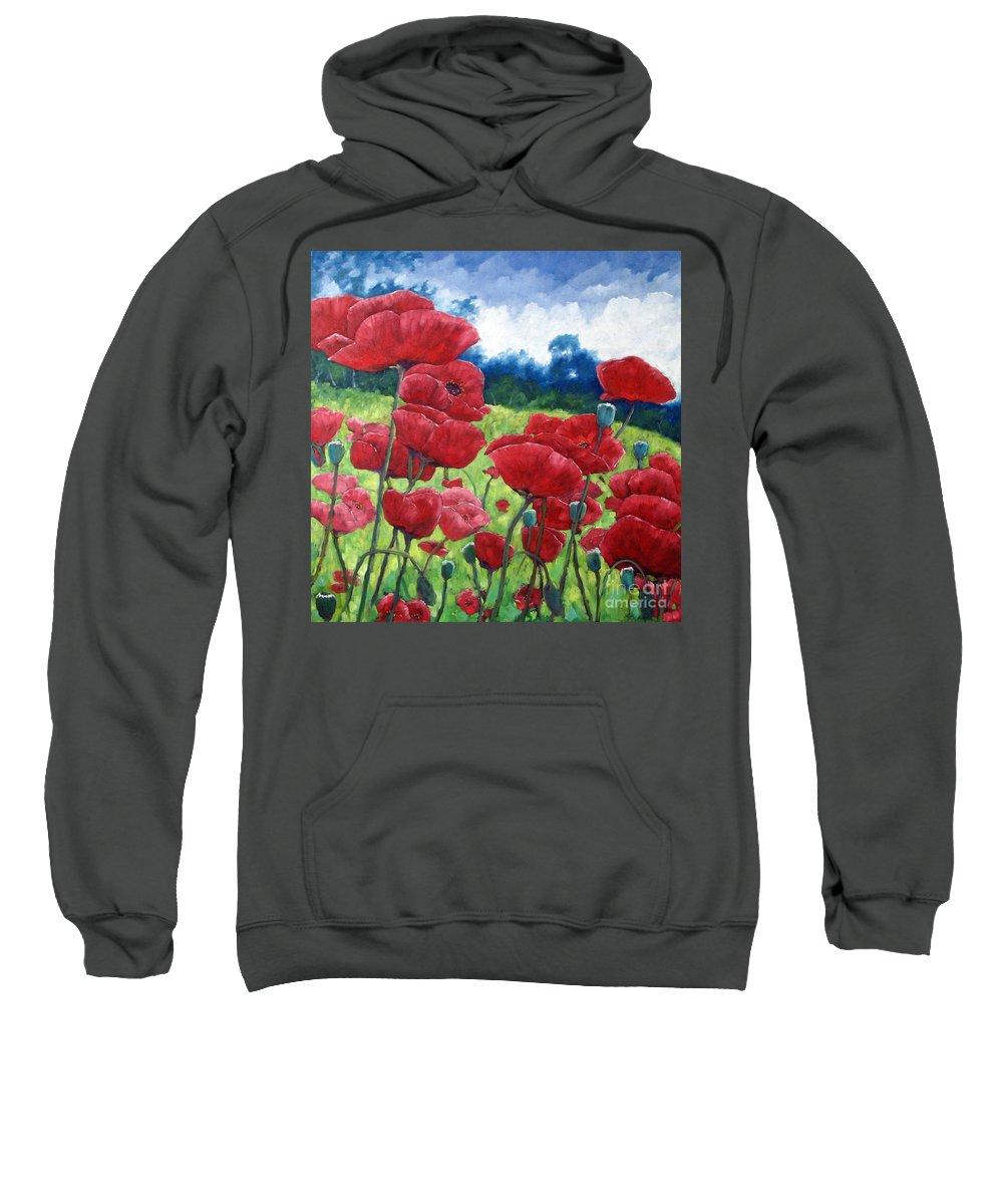 Poppies Sweatshirt featuring the painting Field Of Poppies by Richard T Pranke