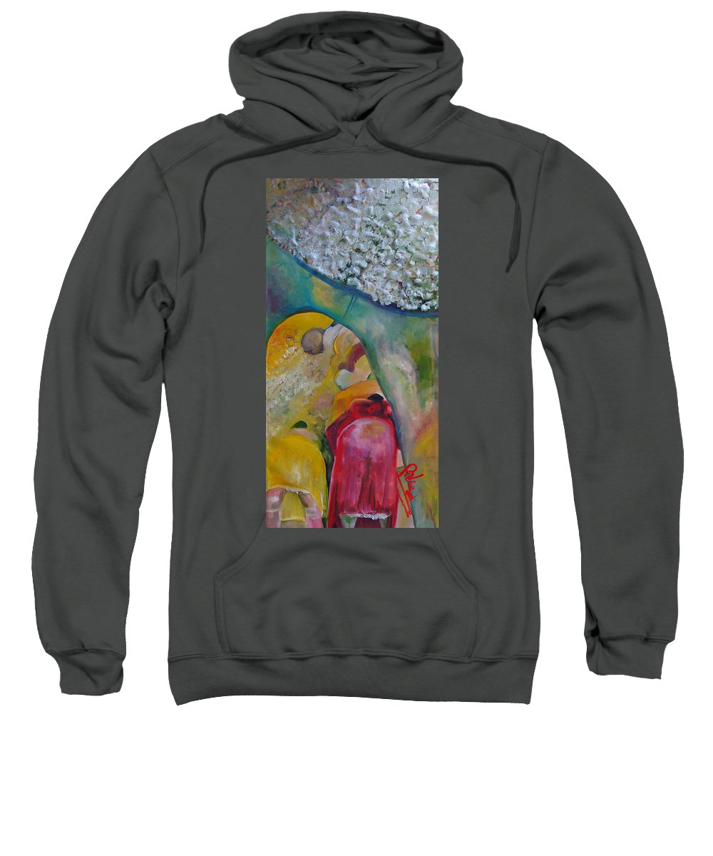 Cotton Sweatshirt featuring the painting Fields Of Cotton by Peggy Blood