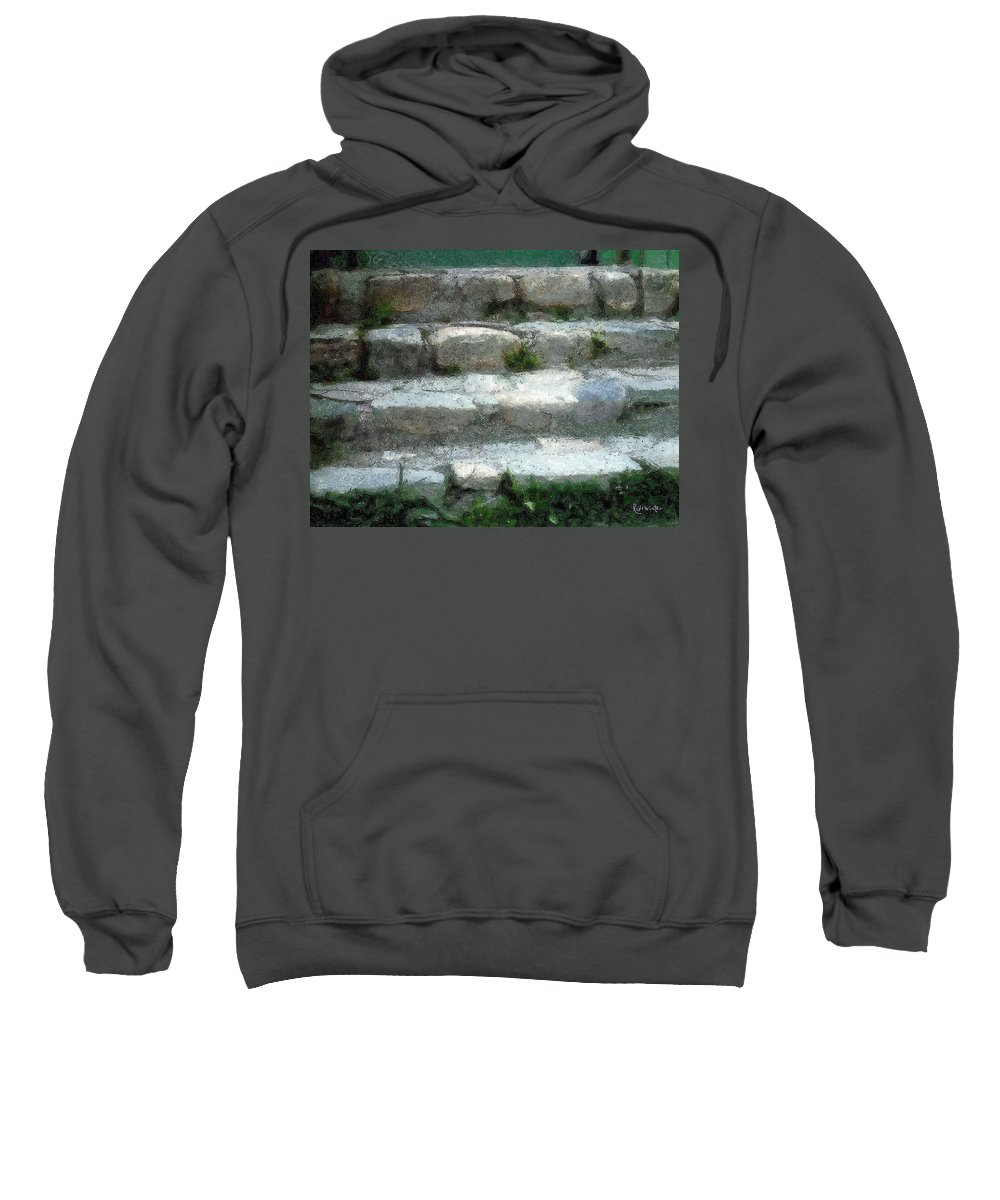 Connecticut Sweatshirt featuring the digital art Fieldstone Stairs New England by RC DeWinter