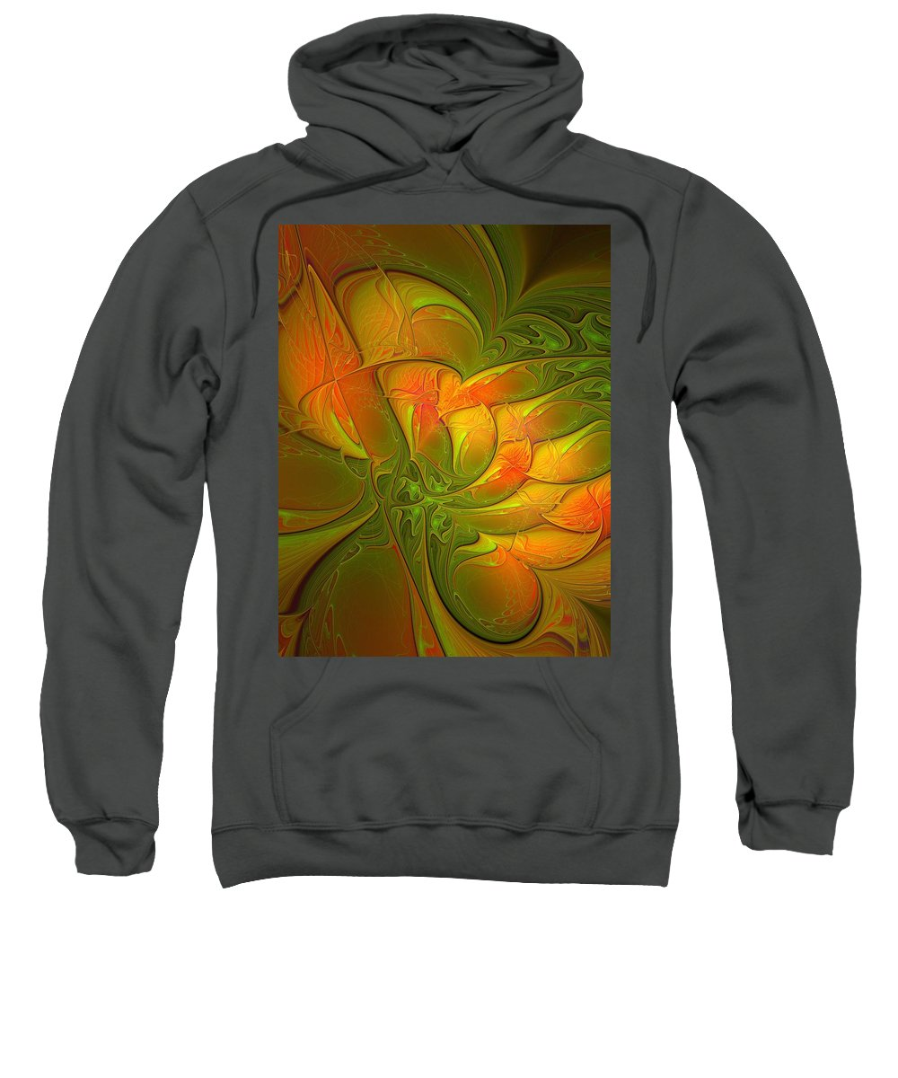 Digital Art Sweatshirt featuring the digital art Fiery Glow by Amanda Moore