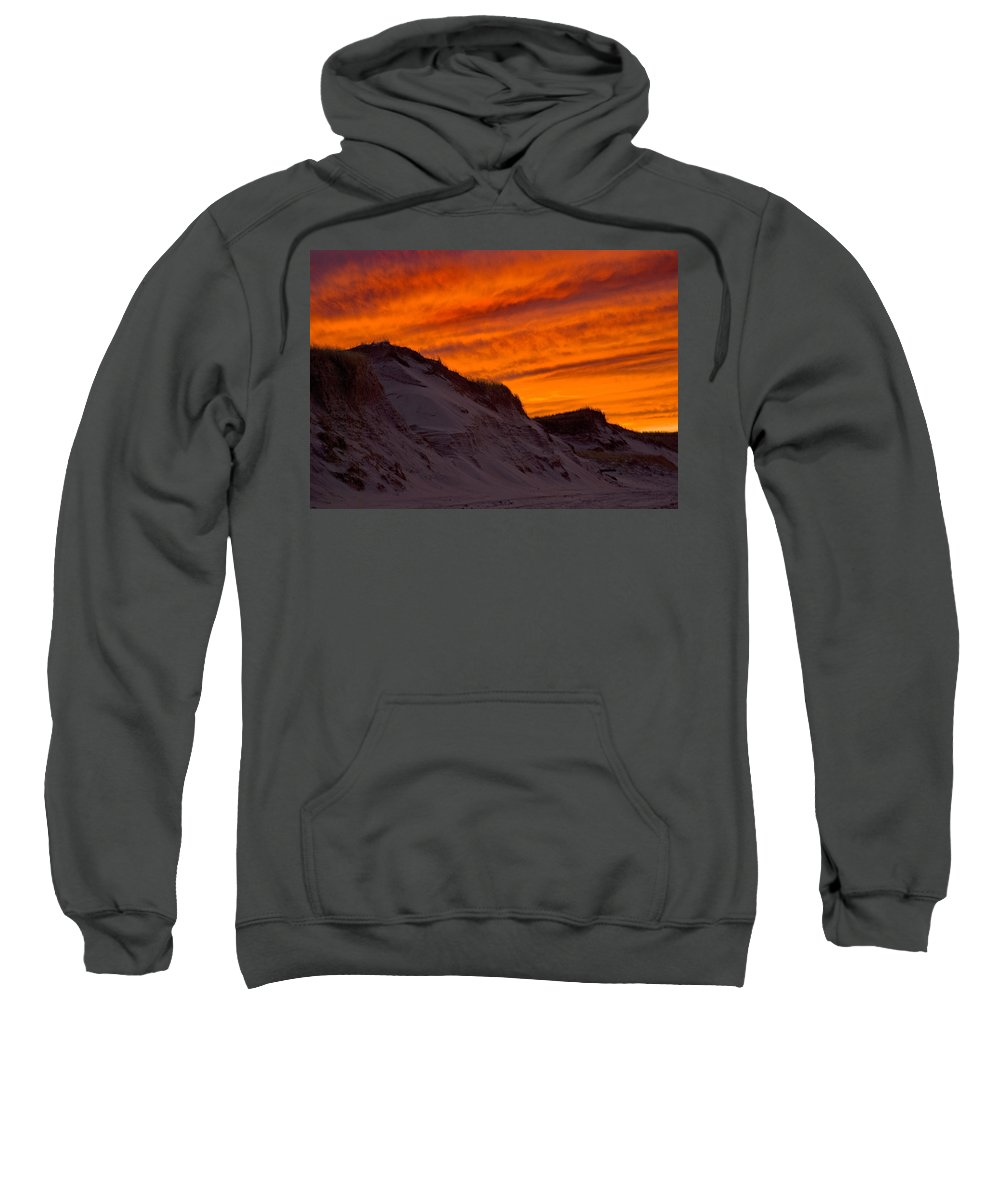 Sandy Neck Sweatshirt featuring the photograph Fiery Sunset Over The Dunes by Charles Harden