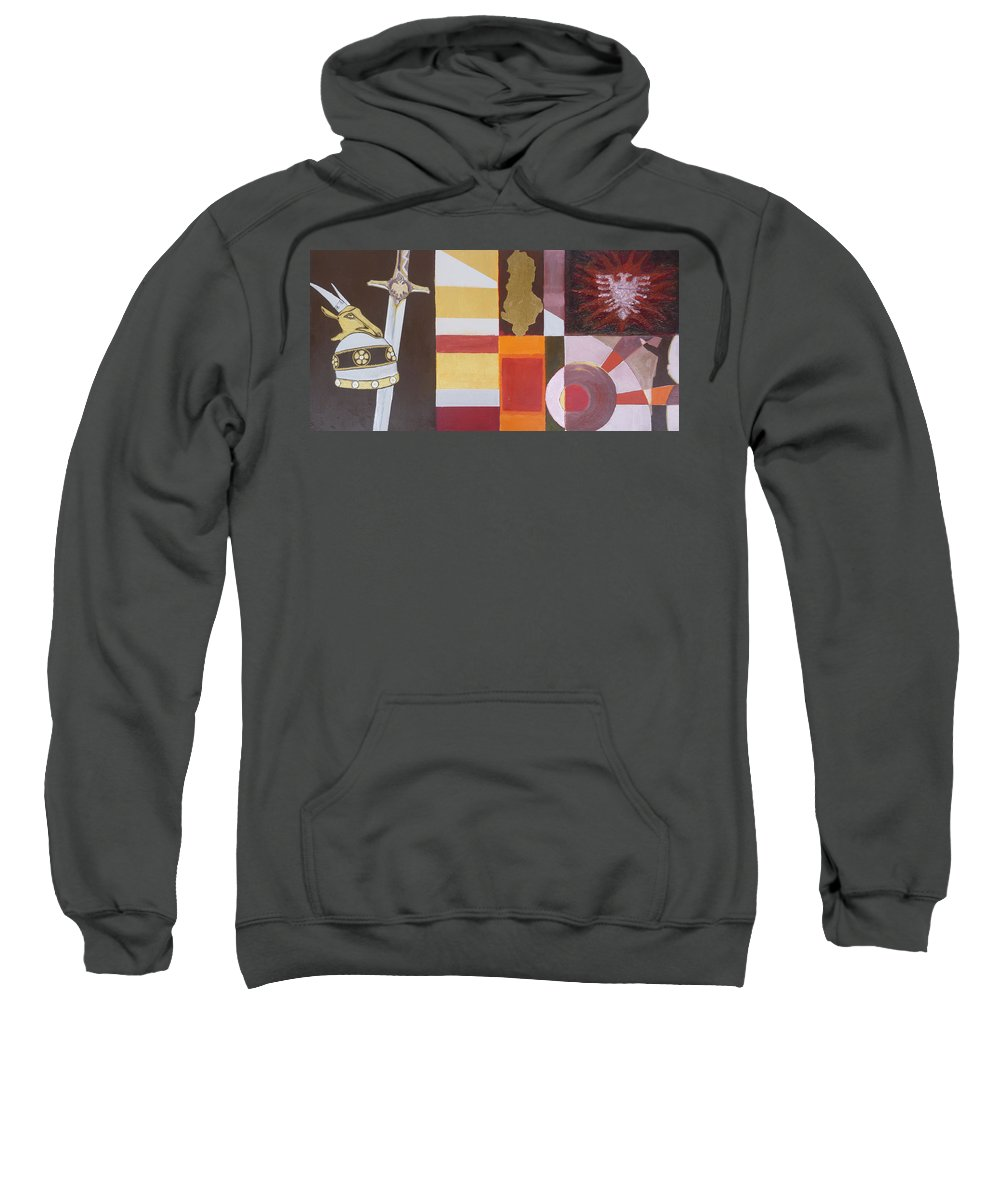 Oil Sweatshirt featuring the painting Figurativ Albanian Simbols by Alban Dizdari