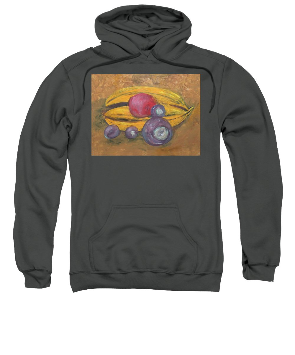 Finger Painted Sweatshirt featuring the painting Fingerpainted Fruit by Lisa Stanley