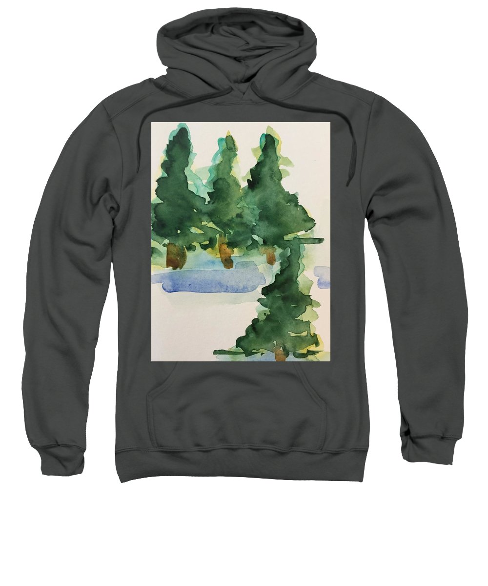 Nature Sweatshirt featuring the painting Fir Trees by Britta Zehm