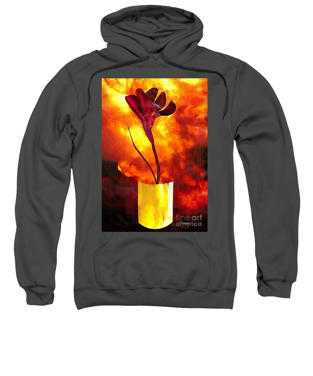 Floral Sweatshirt featuring the mixed media Fire And Flower by Sarah Loft