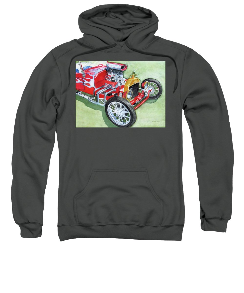 Old Car Sweatshirt featuring the painting Fire And Ice by Gina Hall