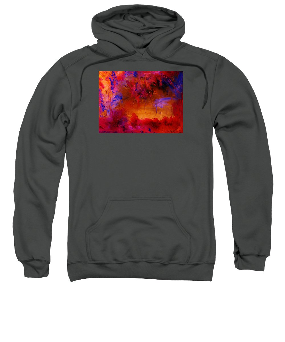 Abstract Sweatshirt featuring the painting Fire And Water by Lorenzo Roberts