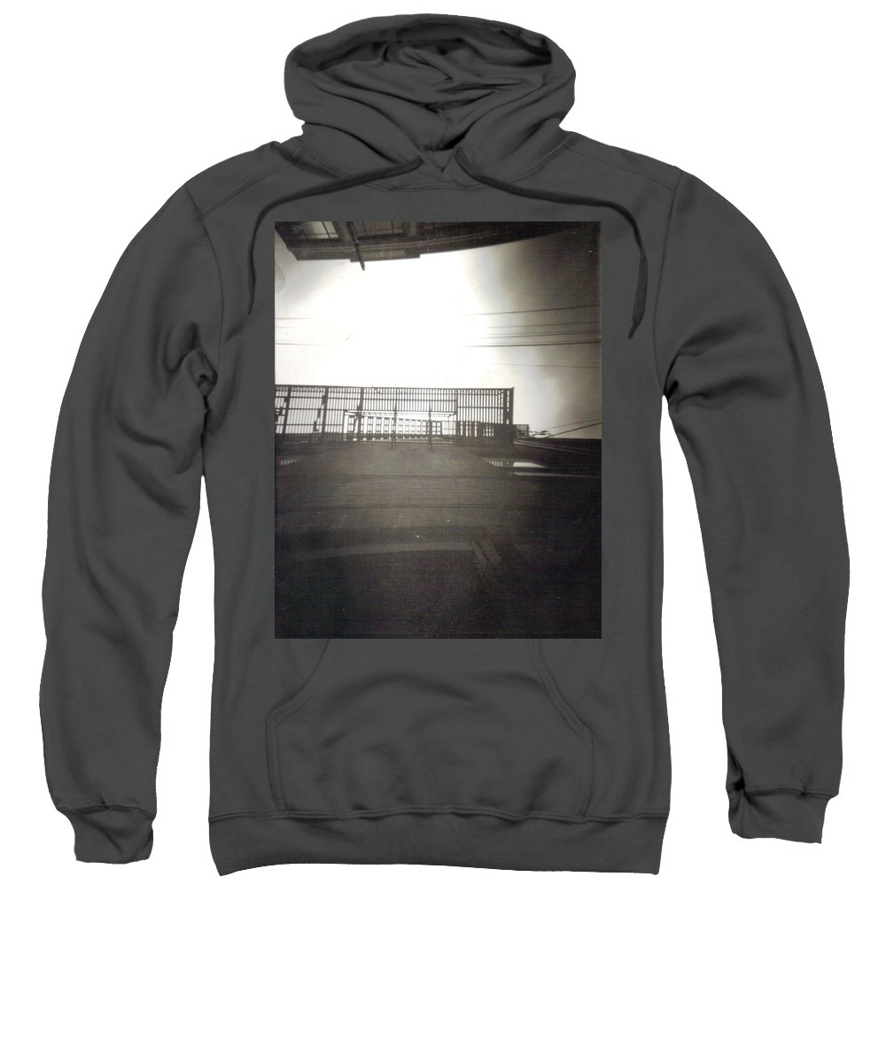 Black And White Photograph Sweatshirt featuring the photograph Fire Escape by Thomas Valentine
