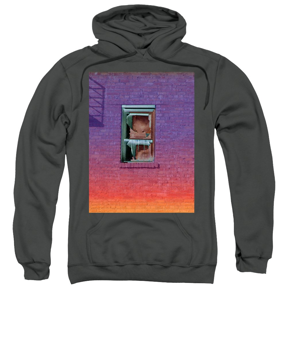 Architecture Sweatshirt featuring the photograph Fire Escape Window 2 by Tim Allen