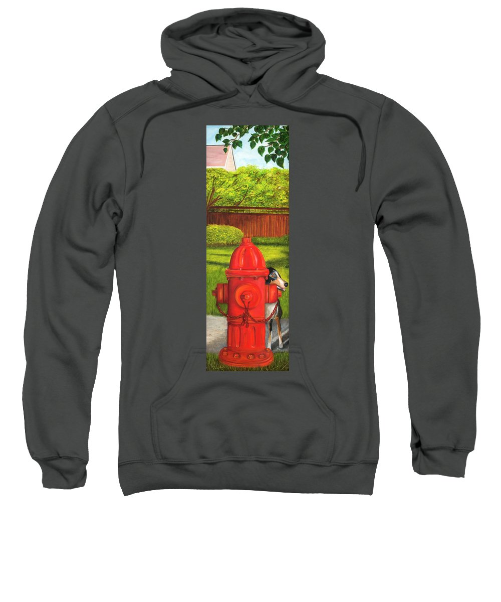 Fire Hydrant Dog Sweatshirt featuring the photograph Fire Hydrant Dog by Iris Richardson