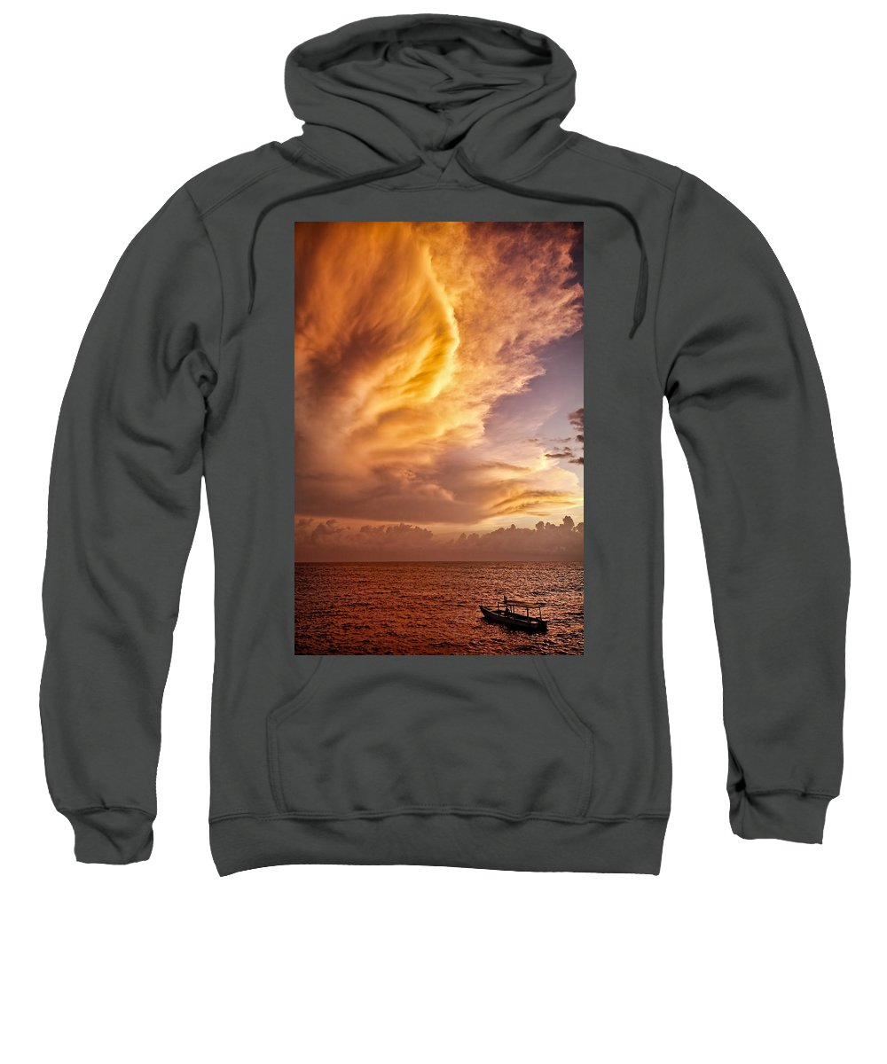 Jamaica Sweatshirt featuring the photograph Fire In The Sky by Dave Bowman