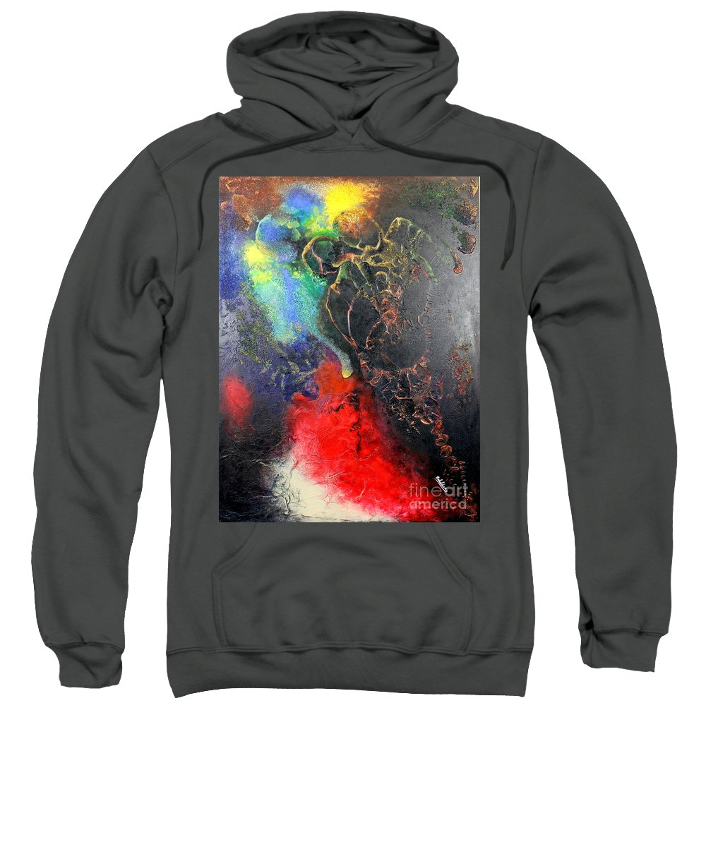 Valentine Sweatshirt featuring the painting Fire Of Passion by Farzali Babekhan