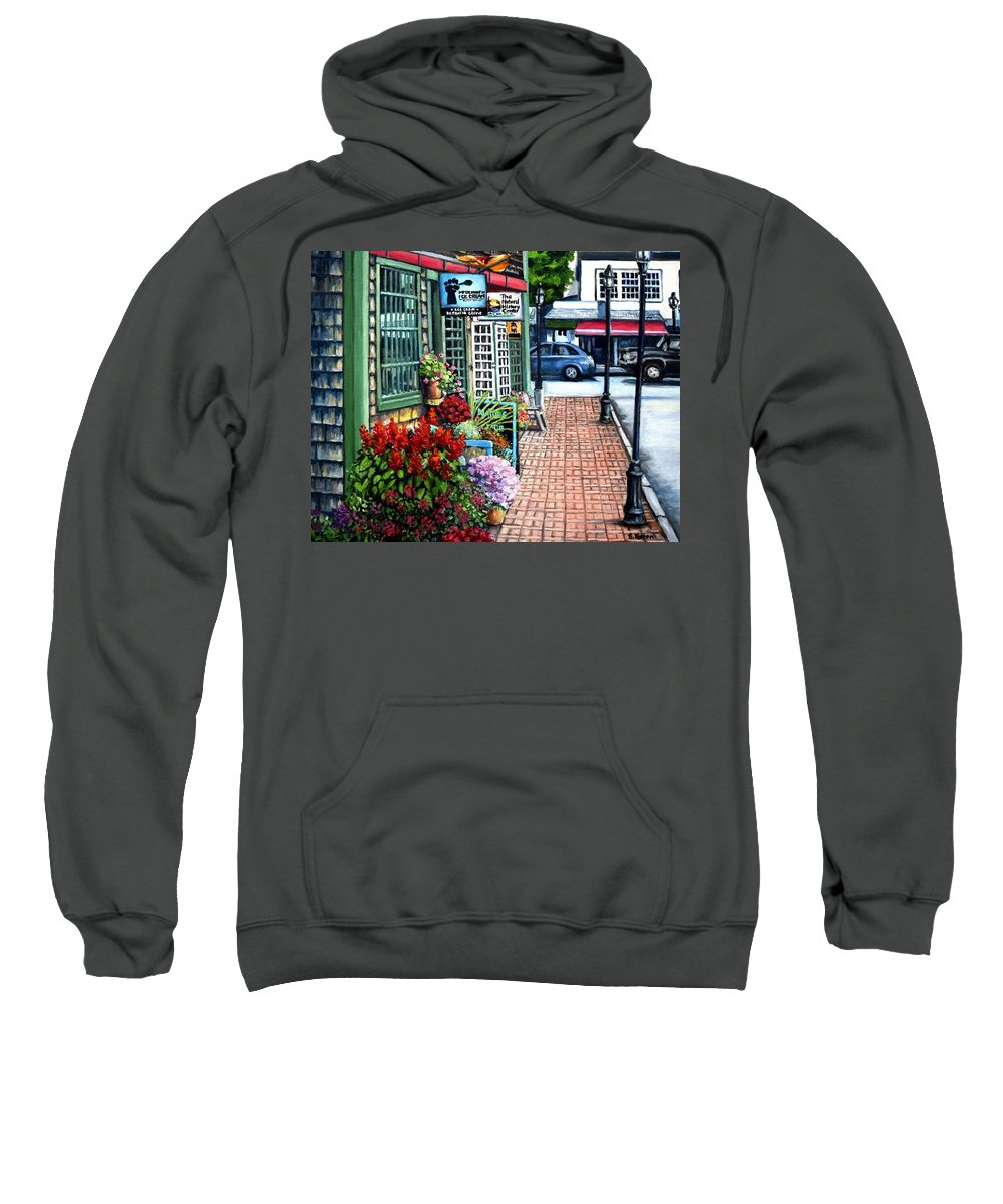 Bar Harbor Sweatshirt featuring the painting Firefly Lane Bar Harbor Maine by Eileen Patten Oliver