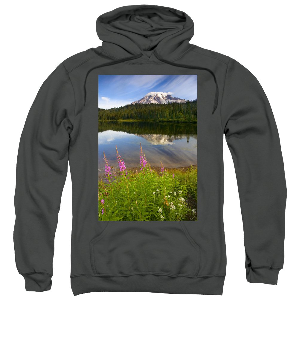 Fireweed Sweatshirt featuring the photograph Fireweed Reflections by Mike Dawson