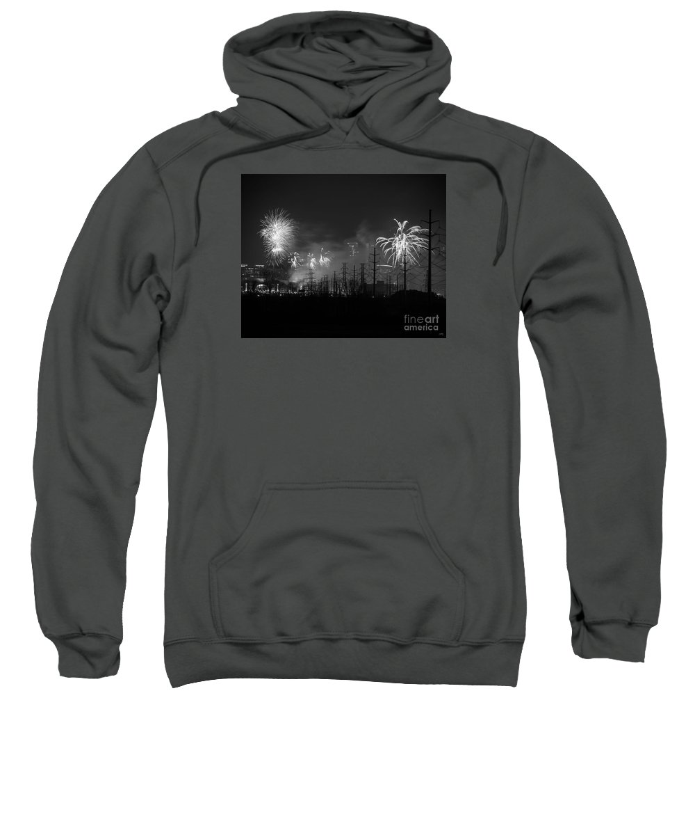 Fireworks In Black And White Sweatshirt featuring the photograph Fireworks In Black And White by Imagery by Charly