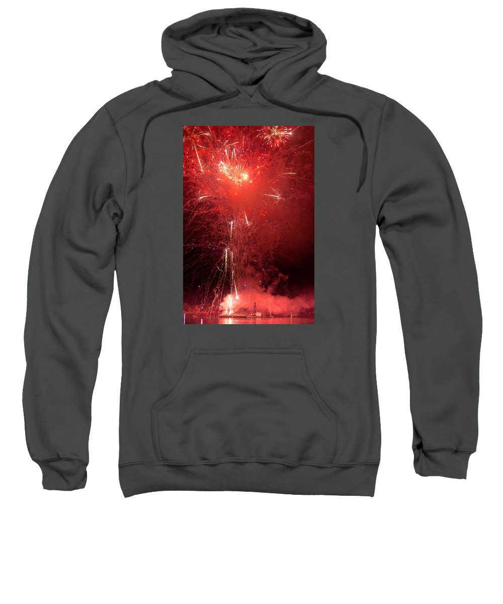 Firewalks Sweatshirt featuring the photograph Fireworks Over Humboldt Bay by Greg Nyquist