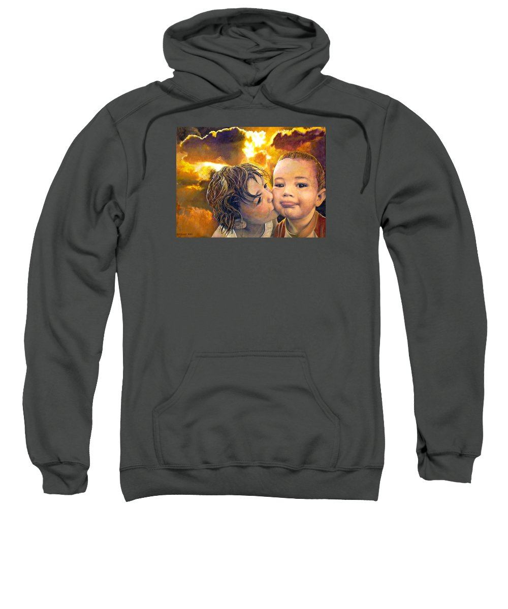 Children Sweatshirt featuring the painting First Kiss by Michael Durst