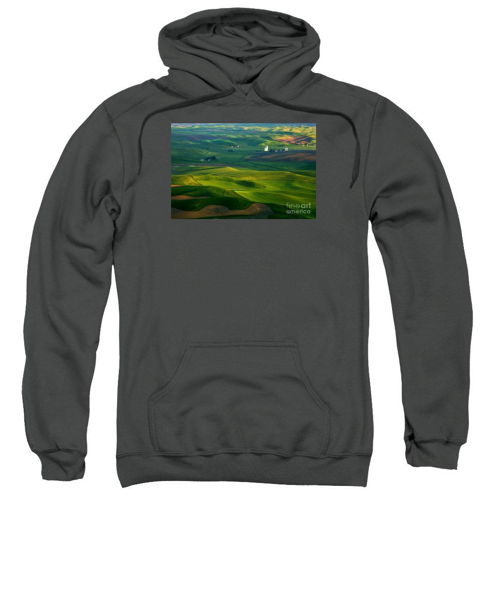 Palouse Sweatshirt featuring the photograph First Light On The Palouse by Mike Dawson