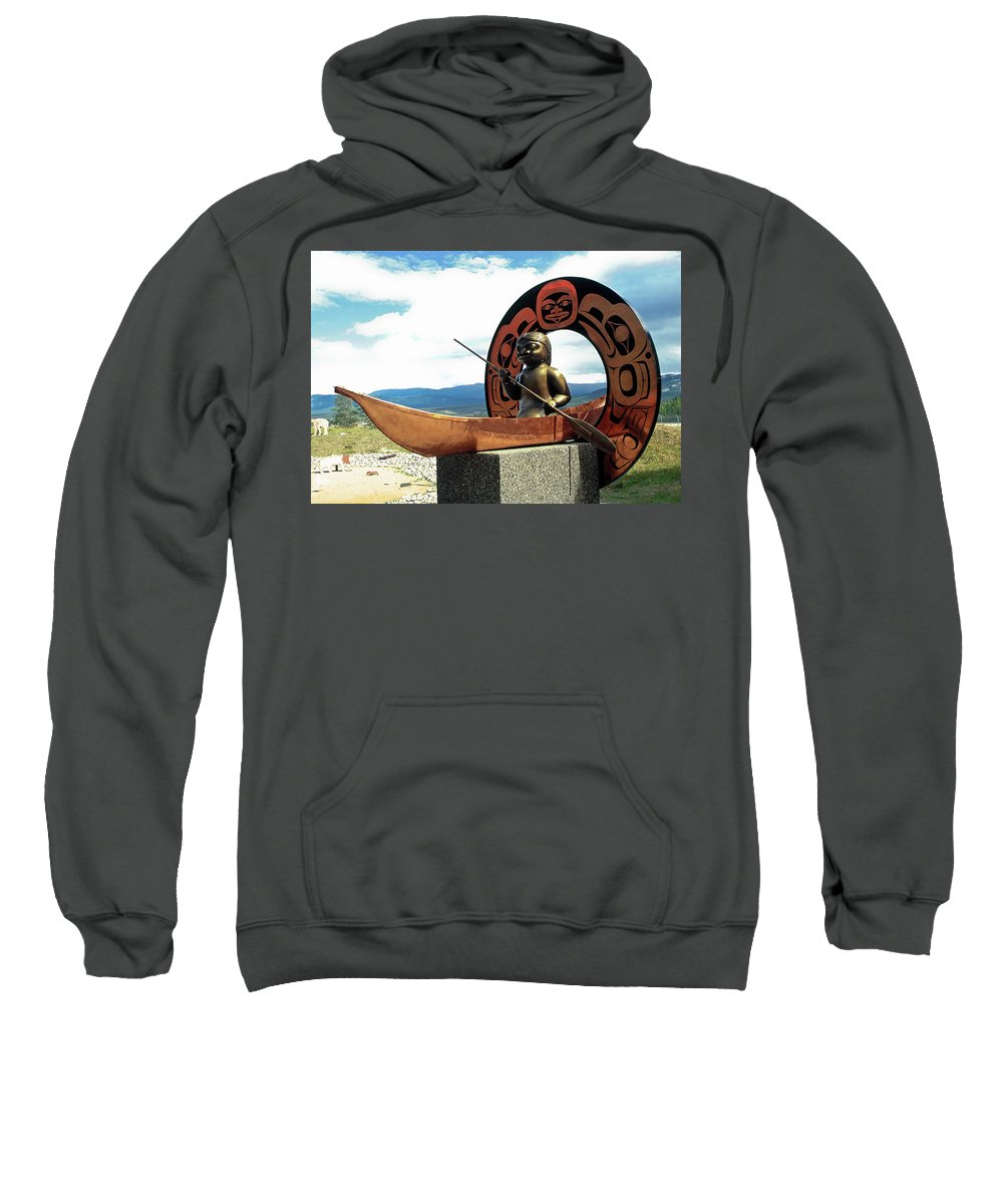 Outdoor Sculpture Where Legends Meet Sweatshirt featuring the photograph First Nation Sculpture by Sally Weigand