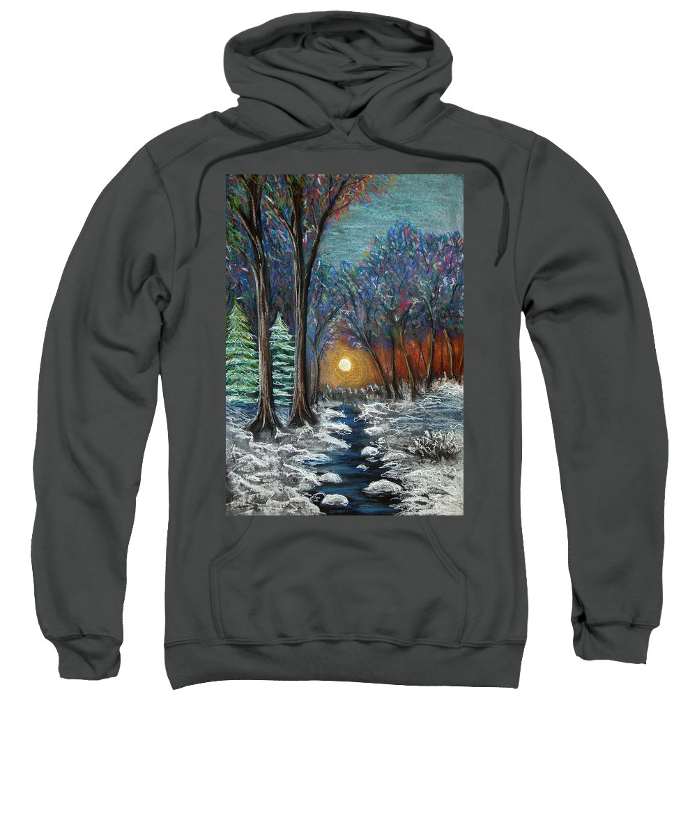 Snow Sweatshirt featuring the pastel First Snow by Nancy Mueller