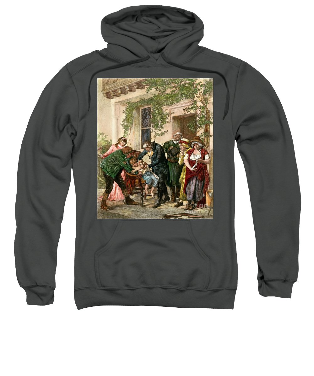 1796 Sweatshirt featuring the drawing First Vaccination, 1796 by Granger