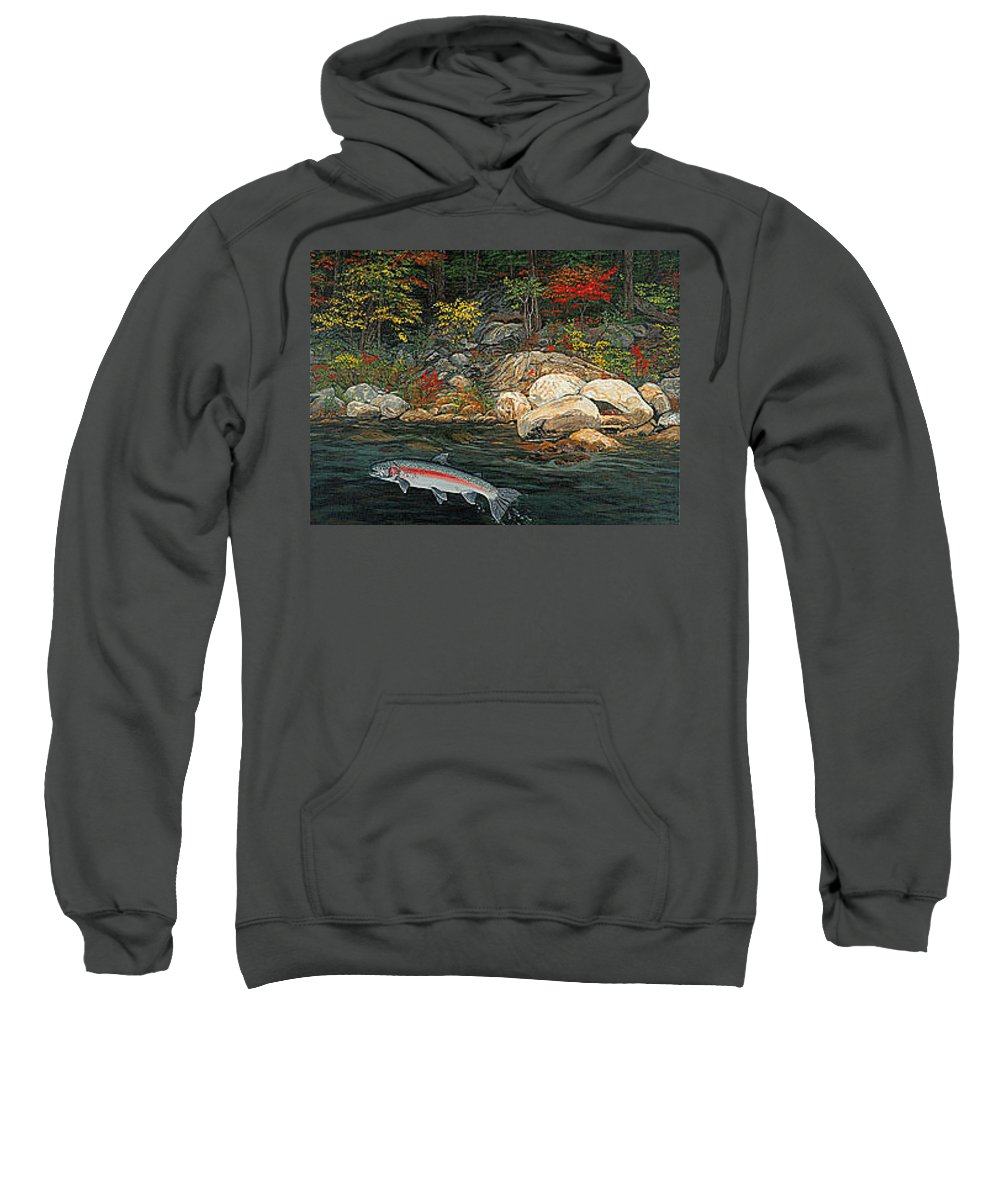 Art Sweatshirt featuring the painting Fish Art Jumping Silver Steelhead Trout Art Nature Artwork Giclee Wildlife Underwater Wall Art Work by Baslee Troutman