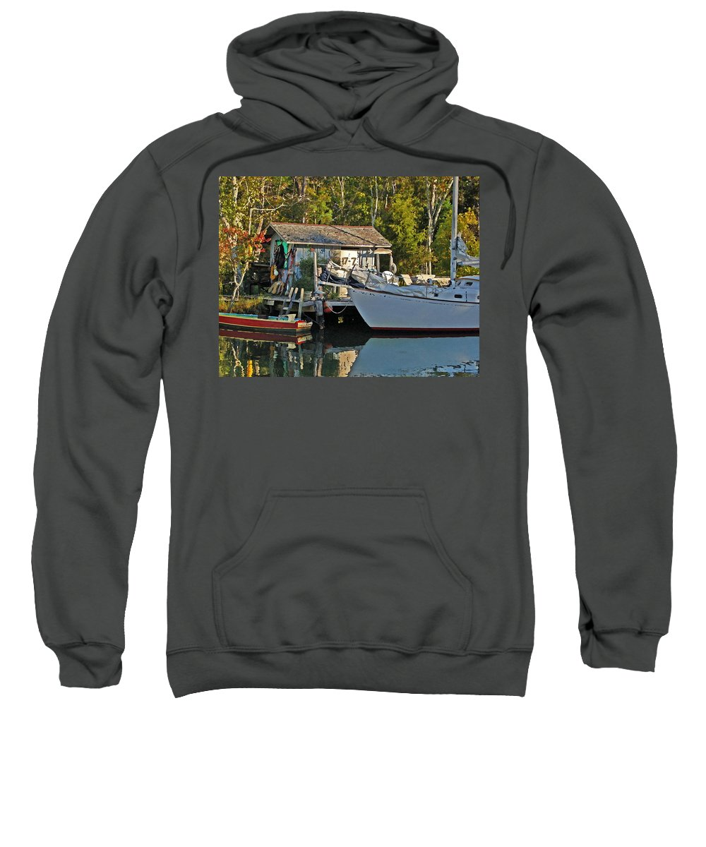 Pelican Sweatshirt featuring the digital art Fishhut And Invictus by Michael Thomas