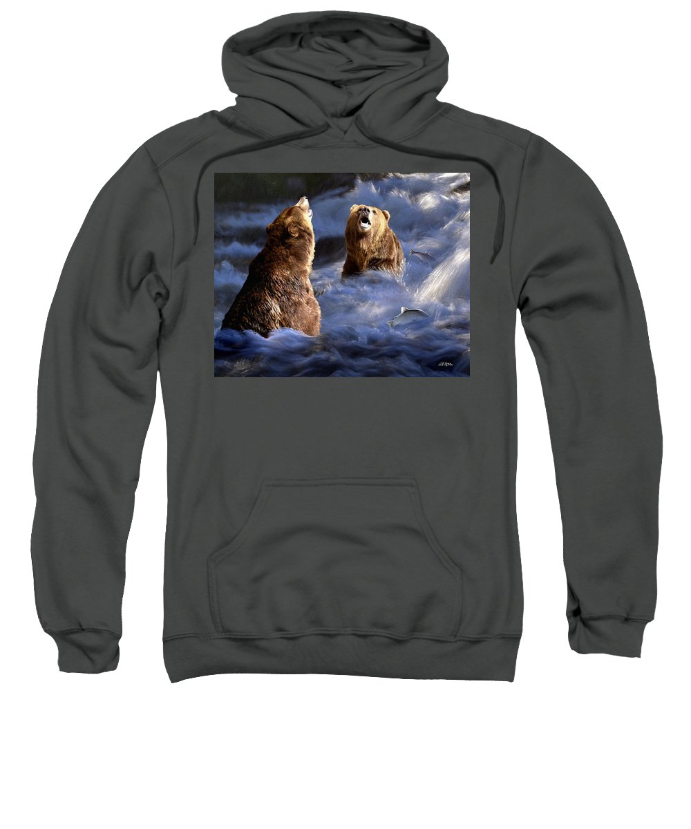 Bear Sweatshirt featuring the digital art Fishing Alaska by Bill Stephens