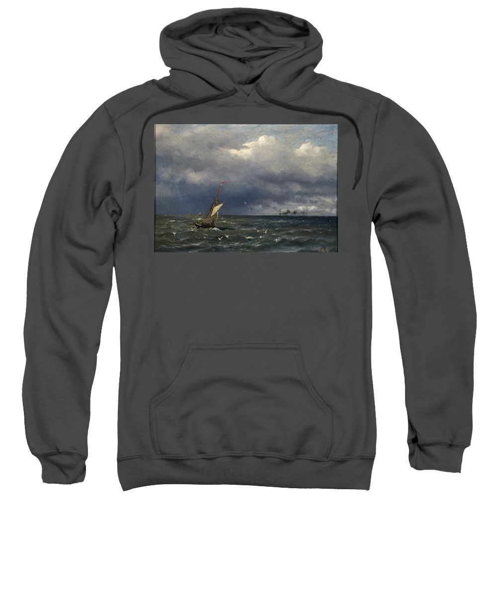 Oscar Kleineh Sweatshirt featuring the painting Fishing Boat At The Sea by MotionAge Designs