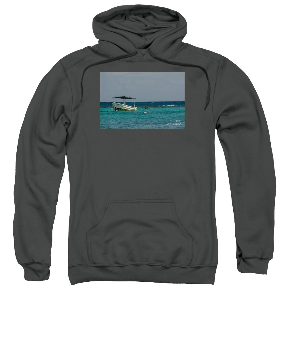 Cheryl Baxter Photography Sweatshirt featuring the photograph Scuba Boat On Turquoise Water by Cheryl Baxter