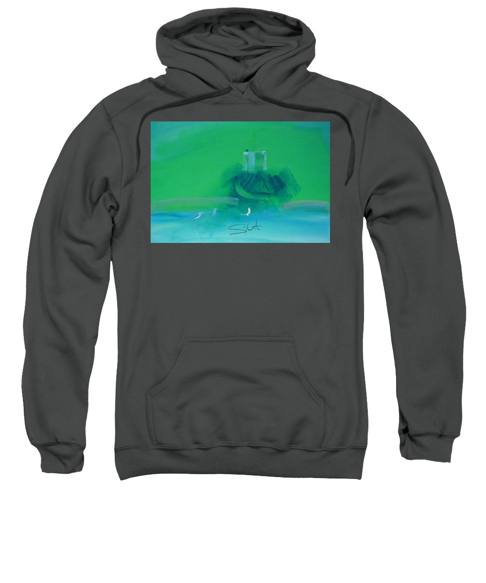 Fishing Boat Sweatshirt featuring the painting Fishing Boat With Seagulls by Charles Stuart