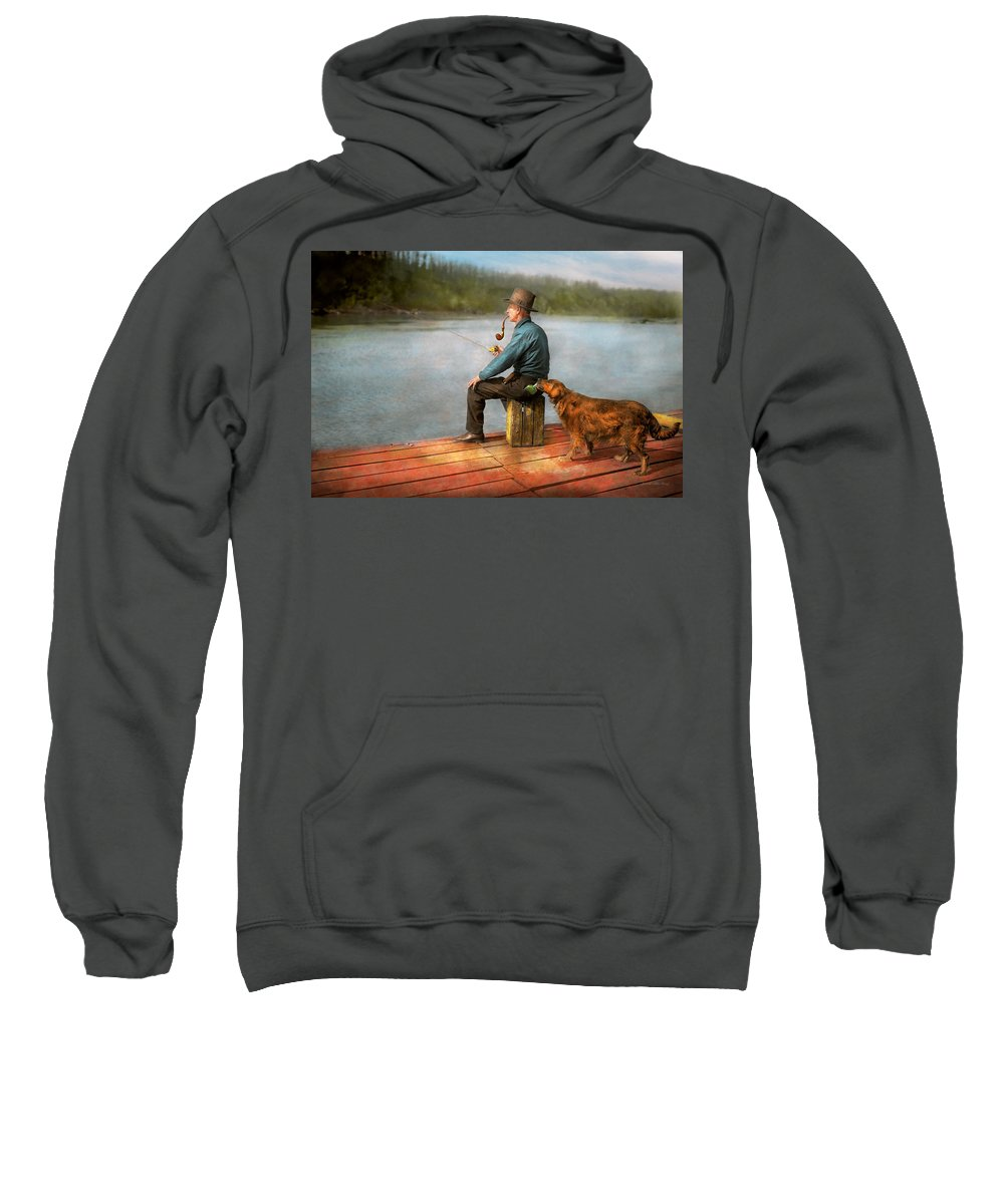 Dog Sweatshirt featuring the photograph Fishing - Booze Hound 1922 by Mike Savad